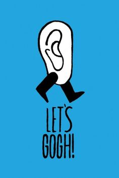 anneyhall:Thom Lambert #gogh #go #ban #ear #poster #illutration #blue #typography