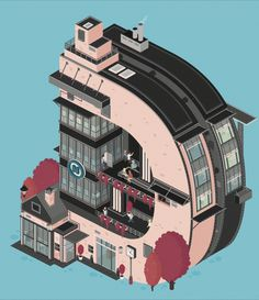 Animated Architectural Letterforms – Fubiz™ #illustration #building