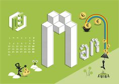 Calendario Algoritmo 2014 on Behance #year #month #calendar #months #calendar2014 #illustration #autumn #2014 #summer #spring #winter