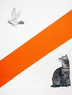 Blow Up #line #red #cat #bird