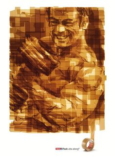 Tape art from Tesa tape Bodybuilder #portraits #tape #art #paintings
