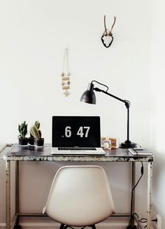 The modern monochrome Stockholm space #home office workspace #desk