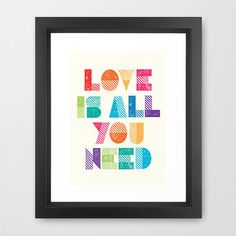 All You Need is Love Print on Etsy #colourful #beatles #you #print #letterpress #is #all #etsy #need #framed #love