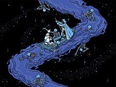The River Styx underworld stars characterdesign linework greek mythology boat skeleton river retro drawing graphic character vector #illustration