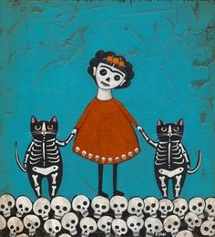 mortumary #dia #skeleton #kahlo #los #de #cat #mexican #cats #frida #muertos