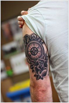 Compass and rose sleeve tattoo for men