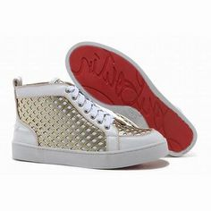 Christian Louboutin Louis Leather Mens Sneakers White Gold #shoes