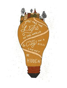 City on a hill print for Fifty Two Verses #light #lightbulb #print #illustration #type #typography #lettering