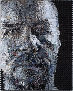 Portraits Made from Found Objects by Zac Freeman | 123 Inspiration #zac #recycling #freeman