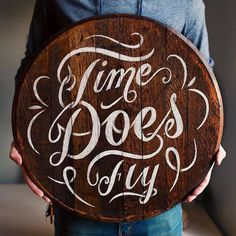"Just finished up my third barrel head! Getting closer to getting this show together. ""Time does fly"" is something I actually have tattooed o #barrel #typography"