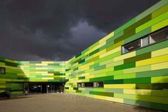 Animal Refuge Centre in Amsterdam with bright green exterior #bright #architecture #art #exterior #buildings