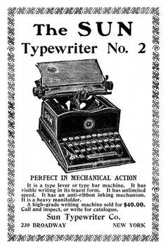 Old Advert: The Sun Typewriter [image 869x1305 pixels , 85] #old #from #books #advertising #typewriter