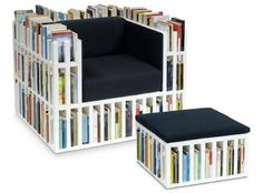 This reading chair has all the books and magazines you need right at your fingertips. #chair #design #product #furniture #industrial