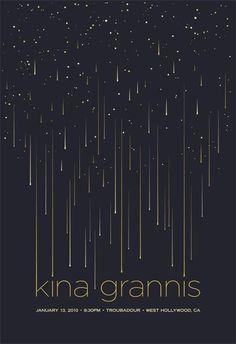 Kina Grannis, kina, grannis, music, indie, indie-pop, stars, falling stars, night sky, night, sky, vector, simple, clean, minimal
