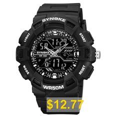 SYNOKE #Man #Waterproof #Outdoor #LED #Digital #Watch #- #BLACK