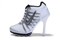 Nike Air Max 2009 High Heels Ladies Size White & Metallic Silver and Black