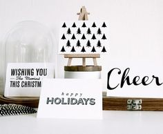 2011 CHRISTMAS CARDS   Feather and Webb #type #white #black #holiday