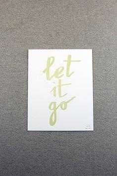 Let it go - paperreka #lettering #print #letterpress #go #mint #let #it #brush #pen