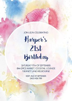 Watercolour 21st Birthday Invitation - Birthday Invitations #paperlust #birthday #invitation #birthdaycards #birthdayinvitation #watercolou