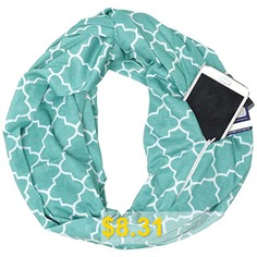 Four-petal #Flower #Print #Knit #Infinite #Zip #Pocket #Neckerchief #- #MACAW #BLUE #GREEN