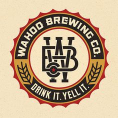 Wahoo Brewing Company Logo #circle #beer #crest #logo #wheat