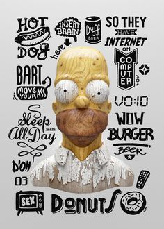Homer #simpson #goverdose #wood #poland #typography