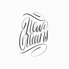 NOLA   @spencerventure   spencerventure.com #lettering #handdrawn #logo #letterforms #penandink #ink #digital #blackandwhite #brushletterin