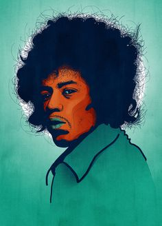 Jimi Hendrix portrait   Tobias Hall #illustration