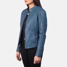 blue leather jacket, ladies jacket
