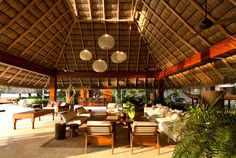 Vacation Villa Completely Open to the Mexican Pacific Bay warm earthy colors living room decor