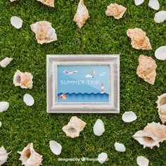 Frame and shells on grass Free Psd. See more inspiration related to Frame, Mockup, Summer, Template, Sea, Photo frame, Grass, Photo, Holiday, Mock up, Decoration, Pineapple, Decorative, Vacation, Templates, Shell, Aloha, Up, Season, Sea shell, Seashell, Shells, Composition, Mock, Summertime and Seasonal on Freepik.
