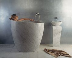 Modern style bathtub from stone #artistic #bathroom #furniture #art #bathtub