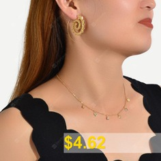 Fashion #Gold-tone #Heart-shaped #Earrings #and #Gold-tone #Diamond #Necklace #- #GOLD