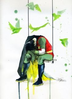 DEPRESSED ROBIN #super #cape #robin #depressed #bird #hero #swing #green