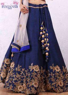 Vasansi Traditional Blue Raw SIlk Lehenga Skirt