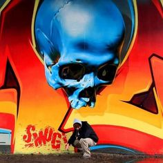 Scull in graffiti art