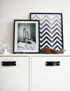 Leather handles, floated wood and framed chevrons poster