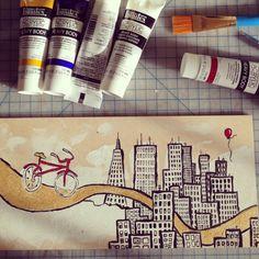 city bike by @bec #line #red #bicycle #city #metallic #bike #painting #mixed #art #media #skyline #fine
