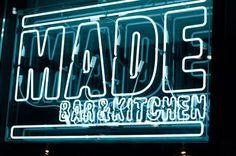We just rebranded Roundhouse's 'MADE Bar & Kitchen'www.them.co.uk #white #red #sign #made #black #restaurant #brand #napkin #logo #resturant #neon