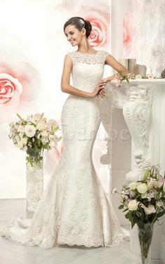 Robe de mariée humble de sirène de traîne moyenne avec ruban avec décoration dentelle