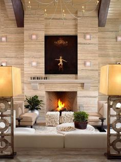 Realistic painting over the fireplace in luxury interior