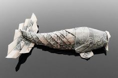 35 Beautiful Dollar Origami Art By Craig Sonnenfeld at DzineBlog.com - Design Blog & Inspiration #origami #koi