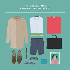 The Gentleman's Spring Essentials by farfetch.com #organised #illustration #gentleman #minimal #poster #fashion #minimalist #style