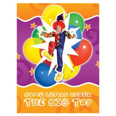 Circus Themed School Presentation Folder #balloons #school #design #orange #circus #presentation #clown #kids #folder
