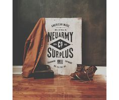 Neu army Surplus Co Wood Signage via www.mr cup.com #sign #type #design