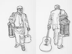 wire art #3d #guitar #sculpture #line #figure #wire #music #detailed #2d #drawing #detail