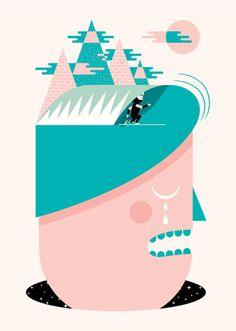 Day Dreamer #surfing #illustration #portrait #head