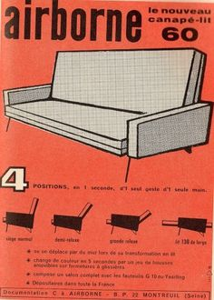 All sizes | the 1960s-ad for airborne sofa | Flickr - Photo Sharing! #furniture #vintage