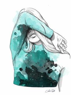 ilustración de chica tapandose by sandra cumplido