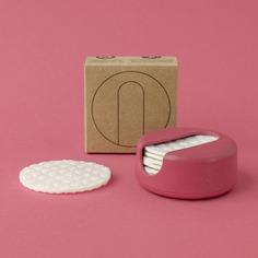 This pack of Reusable Cotton Rounds features a sustainable material composed of natural wood fibers from Scandinavia and cotton fibers that are too short to make into textiles. They offer the softness of a cotton pad but is also friendlier to the planet. The rounds are washable and compostable and they come in a convenient case made from ocean waste plastic. Sustainably made in Denmark.